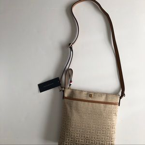 NWT Tommy Hilfiger Beige Fabric Crossbody Bag